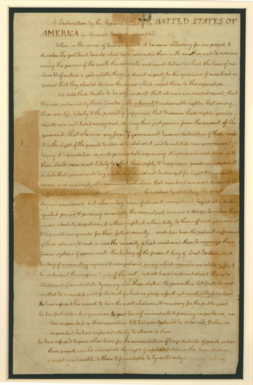 Page 1 of the Declaration of Independence (c) New York Public Library