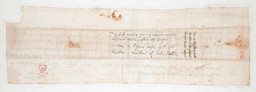 The reverse of a letter from Agnes Paston to her husband, William Paston.