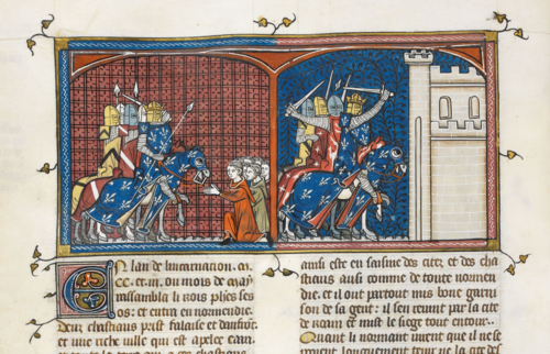 A detail from a manuscript of the Grandes chroniques de France, showing an illustration of the French invasion of Normandy.