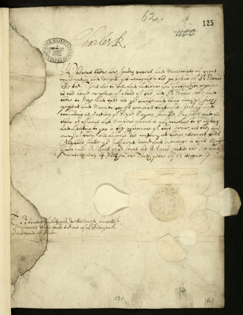 SP16-272 (125) Letter of King Charles I ordering that Coke's papers be confiscated 1634