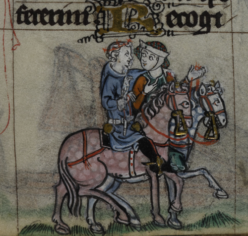 A detail from the Maastricht Hours, showing a marginal illustration of a couple courting and hawking on horseback.