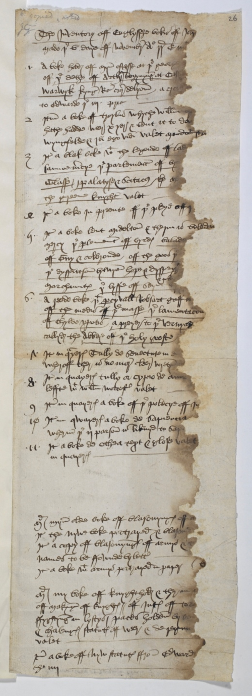 A 15th-century inventory of books belonging to John Paston II.