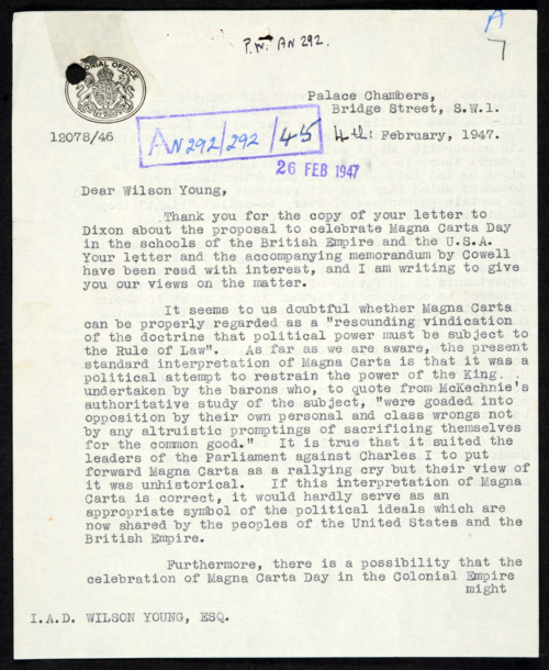 FO371-61073 (1 of 2) Response to proposal to celebrate Magna Carta Day, 1947