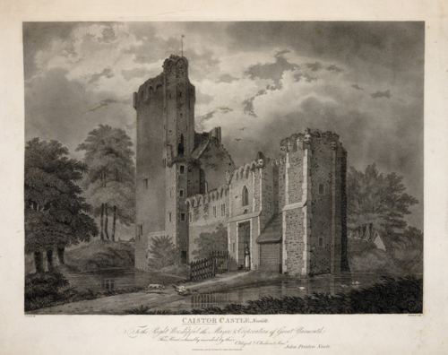 A 19th-century engraving of the ruins of Caistor Castle in Norfolk.