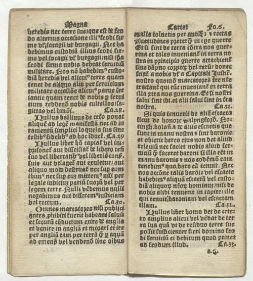 First printed Magna Carta