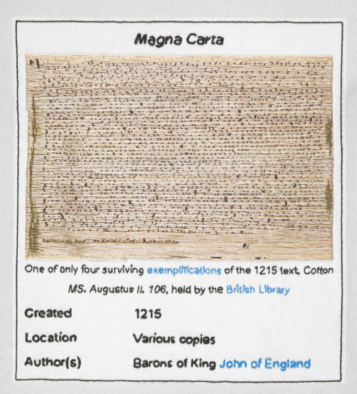 Magna Carta (An Embroidery) (detail) via British Library