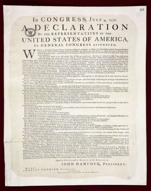 EXT9-93 US Declaration of Independence 1776
