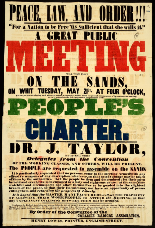 HO40-41 (390) Poster for public meeting for the Peoples Charter, Carlisle 1839