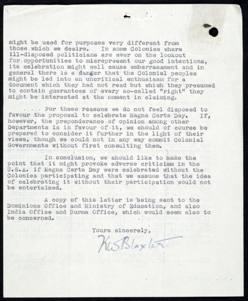 FO371-61073 (2 of 2) Response to proposal to celebrate Magna Carta Day, 1947