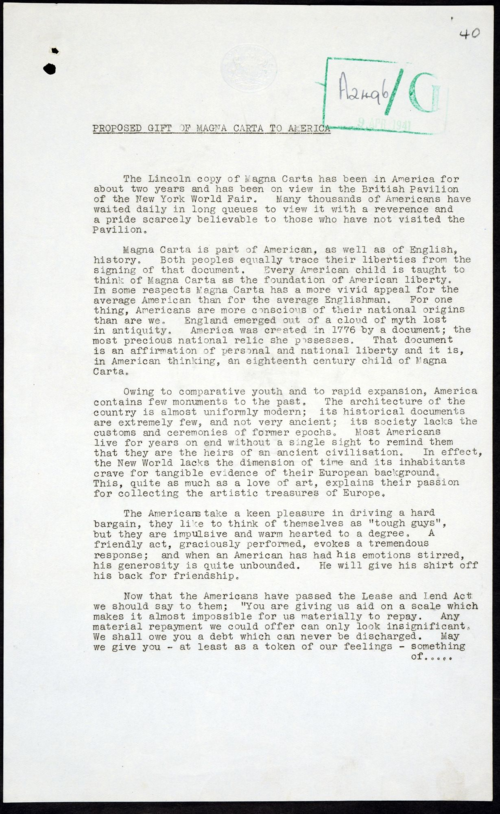 FO371-26169 (40) Proposal to offer Magna Carta as a gift to the USA 1941