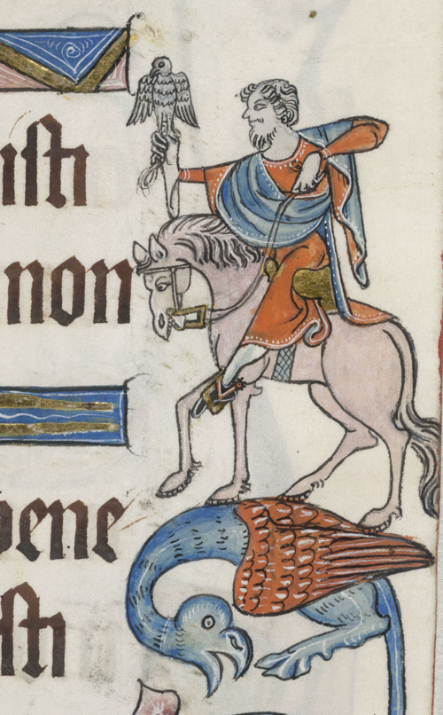 A marginal illustration of a man hawking, from the Luttrell Psalter.