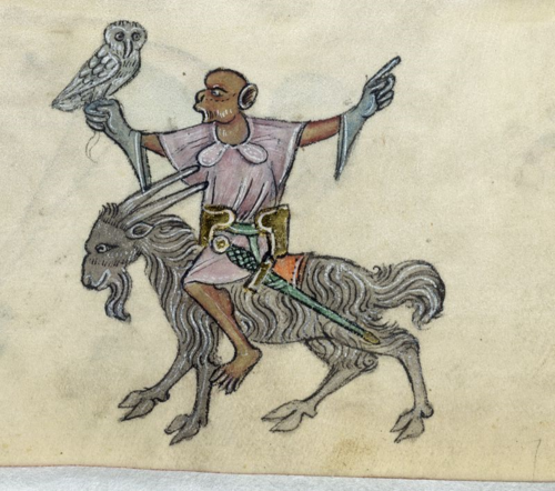 A detail from the Luttrell Psalter, showing a marginal illustration of a monkey holding an owl and riding a goat.