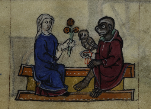 A detail from the Maastricht Hours, showing a marginal illustration of a woman and a courting monkey with an owl.