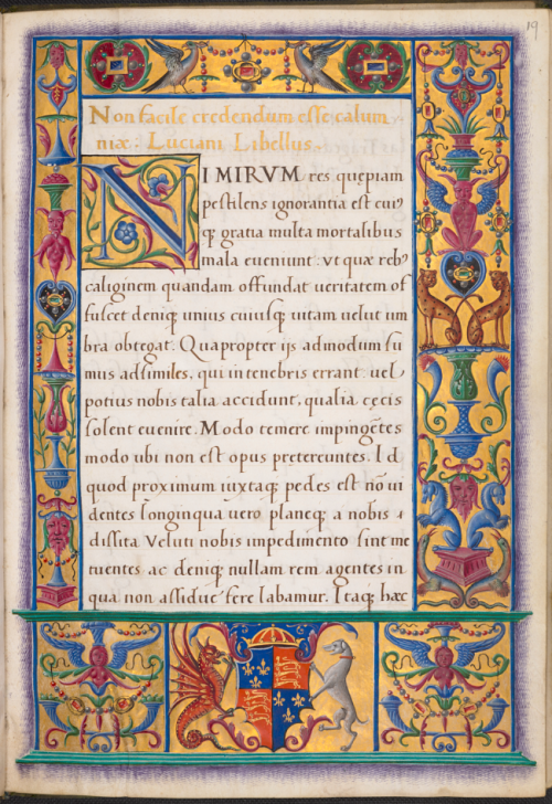 A page from an early 16th century manuscript, showing the opening of Lucian's De calumnia.