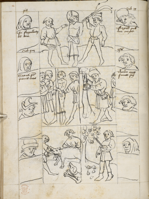 A page from a German manuscript of the Biblia Pauperum, showing an illustration of the Scourging of Christ.