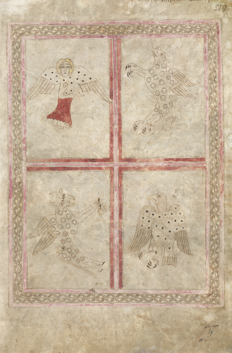 The four evangelist symbols in theSt Chad Gospels