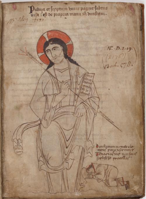 Self-portrait of St Dunstan kneeling before Christ in St Dunstan's Classbook
