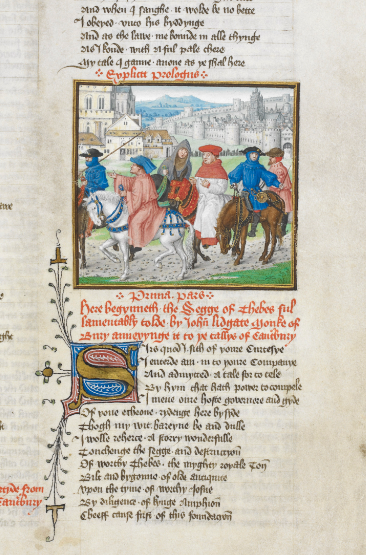 A detail from a manuscript of John Lydgate's Siege of Thebes, showing an illustration of pilgrims on the road to Canterbury.