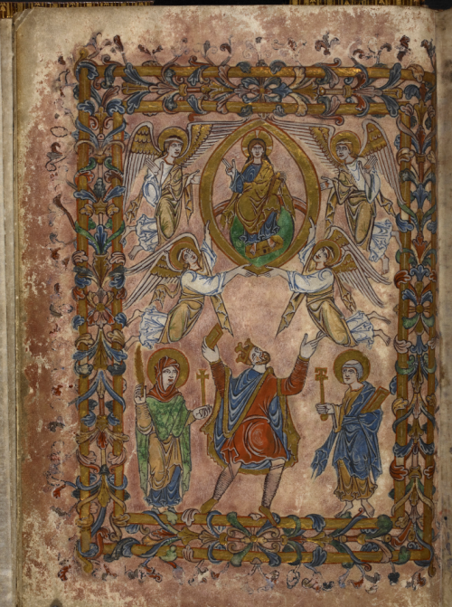 A page from the New Minster Charter, showing an illustration of King Edgar offering the charter to Christ.
