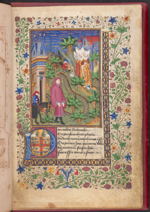 A page from a manuscript of the Livre des Quatre Dames, showing an illustration of the poet with the four ladies.