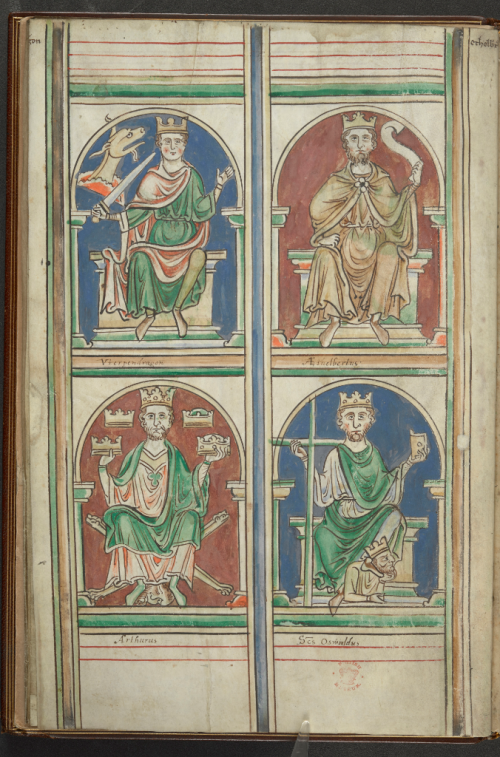 A page from a manuscript of the chronicles of Matthew Paris, showing portraits of Utherpendragon, Æthelberht, Arthur and St Oswald.