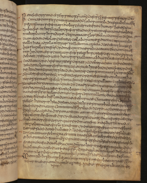 A page from the Moore Bede, an Anglo-Saxon manuscript of Bede's Ecclesiastical History.