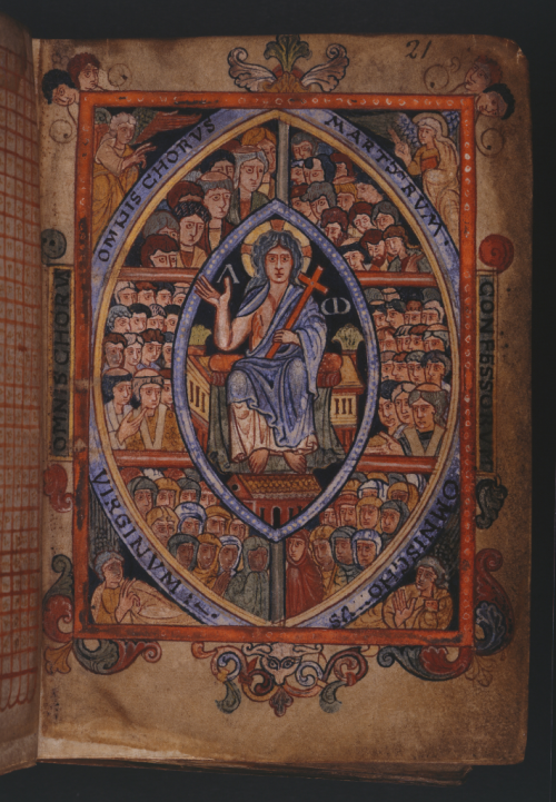 A page from the Æthelstan Psalter, showing an illustration of Christ in Majestry, surrounded by the figures of angels and prophets, with the Apostles below.